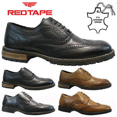 Mens Red Tape Real Leather Lace Up Casual Office Smart Formal Brogue Shoes Size