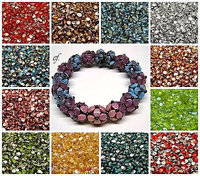 CHOOSE COLOR! 50pcs 5x3.5mm Pinch Beads Czech Pressed Glass