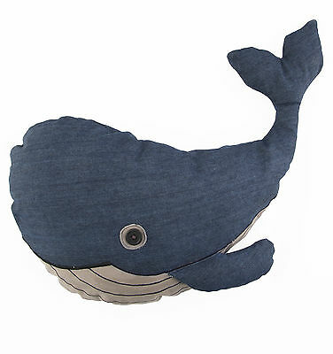 Blue Whale Shaped Cushion Nautical Seaside Animal Scatter Pillow Sass & Belle