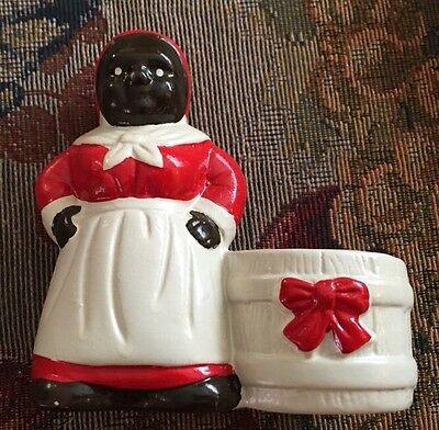 Small Fine Porcelain Mammy Candle Light Holder African American Woman Apron