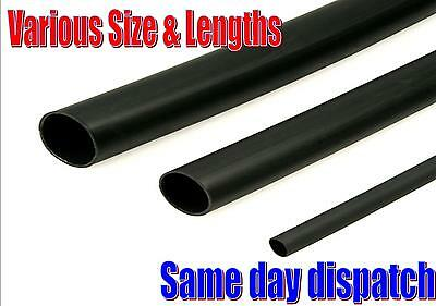Black Heatshrink Sleeving Tubing. Wire Cable Tubing. Weatherproof 1.2Mm - 38Mm.