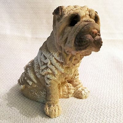 "Adorable Chinese Shar Pei Dog 4"" Statue Small Figurine Sculpture"