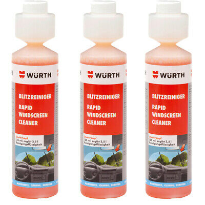 Genuine Wurth Rapid Windscreen Cleaner 250 ml Concentrate Screen Wash Trio Pack