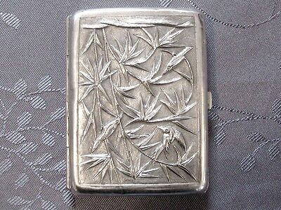 Argent Massif Chinese Export Silver Cigaret  Case Chine Xix
