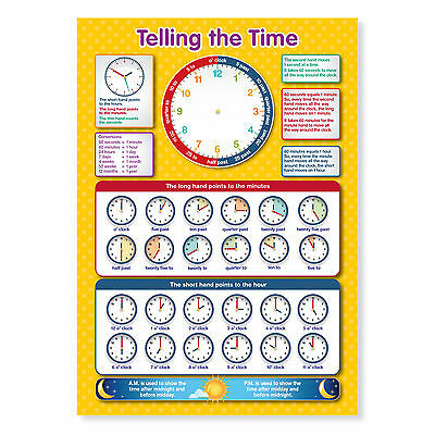 A3 Laminated Tell The Time Educational Poster Learning Teaching Resource