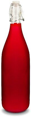 UC-020: Frosted Red Glass Water Bottle w/Swing Top Closure & Stopper by Uno Casa