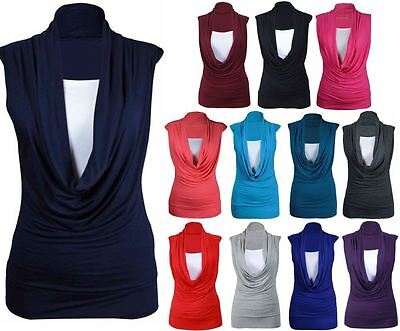 New Ladies Gathered Cowl Neck Top Women Sleeveless Long Vest Top Size 8-26