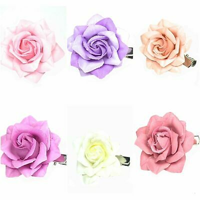Small Pastel Rose On A Forked Hair Clip Weddings, Formal, Prom Bridesmaid Flower