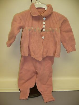 Vintage Childs Knit Wool Sweater & Pants w/Built-In Suspenders, Pink