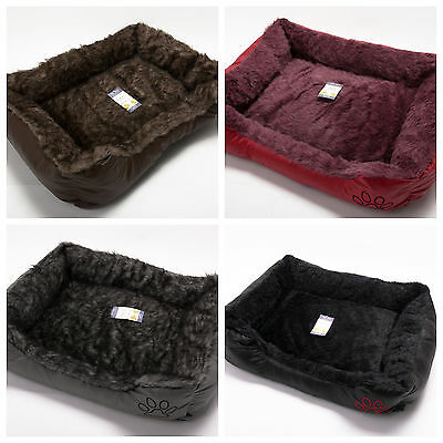 Soft Comfy Fabric Washable Dog Pet Cat Warm Basket Bed with Fleece Cosy Discount