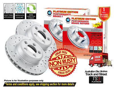 FORD Falcon XR6Turbo FG 322mm 08-16 FRONT Slotted Drilled Disc Brake Rotors (2)
