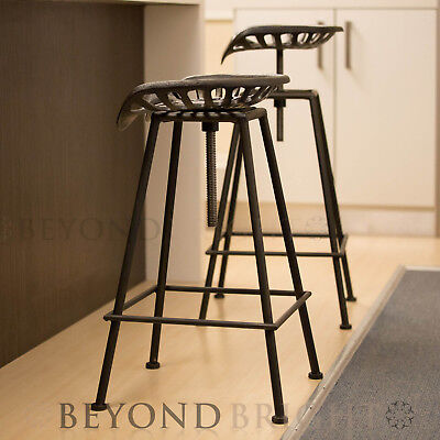 2x SQ Tractor Cast Iron Metal Bar Stool Kitchen Chair Swivel Vintage Industrial