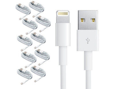 10x 8 Pin USB Charger Cord Sync Data Cable for iPhone 5 5S 6 7 3FT Wholesale Lot