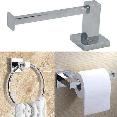 Modern Chrome Square Bathroom Toilet Tissue Paper Roll Holder & Towel Ring Set