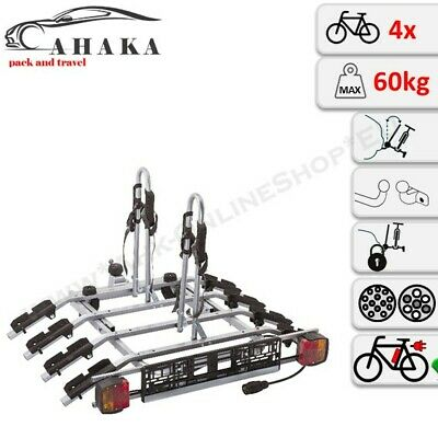 Towbar Mounted Tilting 4 Bike Rack Cycle Carrier Steel Hitch Platform Transport