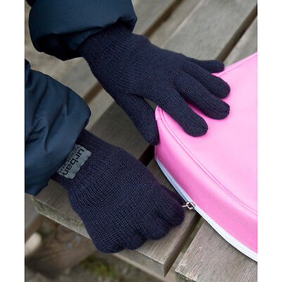 Kids Childrens Fully Lined Knitted Thinsulate Gloves Navy Winter Warm Boys Girls