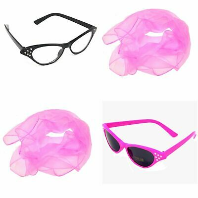 Pink Lady Glasses and Scarf Set Grease 50's Fancy Dress Hen Nights Party 1950's