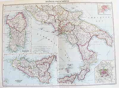 OLD ANTIQUE MAP  SOUTHERN ITALY SICILY SARDINIA NAPLES ROME INSERT c1906  PHILIP