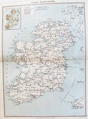 OLD ANTIQUE MAP IRELAND RAILWAYS NETWORK c1906 by G PHILIP PRINTED COLOUR