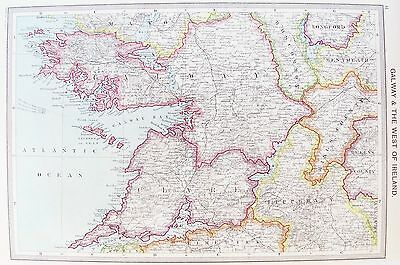 OLD ANTIQUE MAP IRELAND WEST COAST GALWAY LIMERICK ARAN c1906 by PHILIP