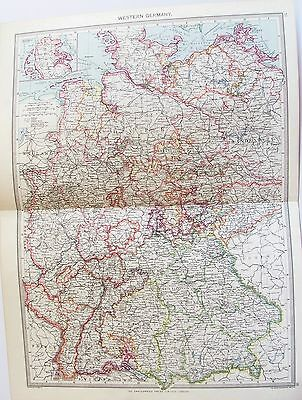 OLD ANTIQUE MAP WESTERN GERMANY HAMBURG BERLIN HANOVER c1906 by G PHILIP