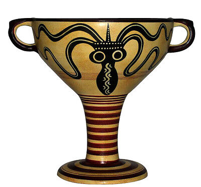 Mycenae Kylix Vase Amphora Ancient Greek Mycenaean Museum Replica Reproduction