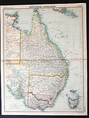 c1920 Times Atlas map of Australia - Eastern Section