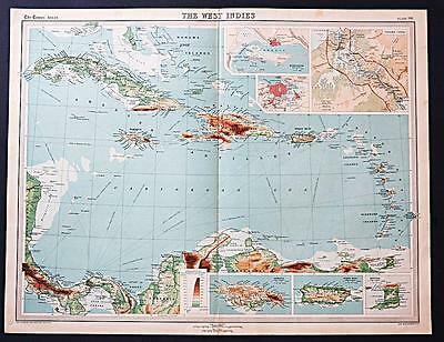 c1920 Times Atlas map of the West Indies