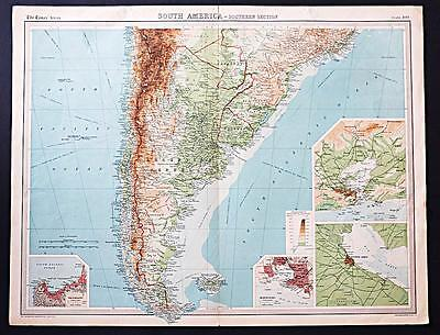 c1920 Times Atlas map of South America - Southern Section