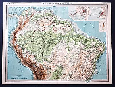 c1920 Times Atlas map of South America - Northern Section