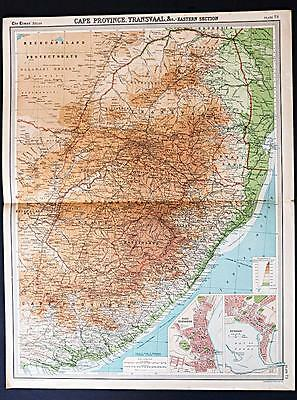 c1920 Times Atlas map of Cape Province & Transvaal