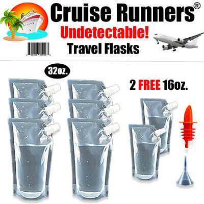 CRUISE SHIP KIT FLASK 6-32oz + 16oz RUNNERS RUM ALCOHOL WINE SMUGGLE BOOZE SNEAK