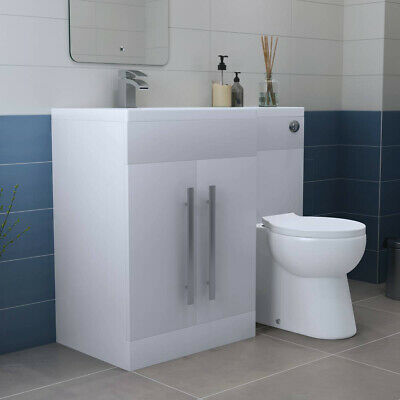 Designer LH White Combi Bathroom Vanity Unit with Basin + Back To Wall Toilet