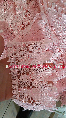 FP54A 1 Yards Lace Trim Ribbon For Dress Skirt Veil Embroidered DIY Sewing Craft