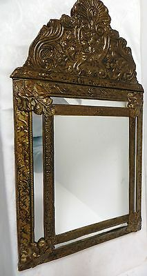 Spectacular Antique Victorian Raised Copper Brass Beveled Wall Mirror Repousse