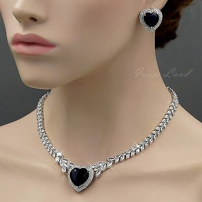 White Gold Plated Blue Cubic Zirconia Necklace Earrings Wedding Jewelry Set 8440