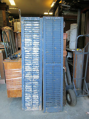 """PAIR LATE VICTORIAN louvered house window shutters 75.5 X 15 & 16"""" WIDE"""