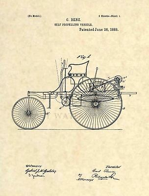 Official FIRST Mercedes Benz US Patent Art Print - Vintage Antique Mechanic 241