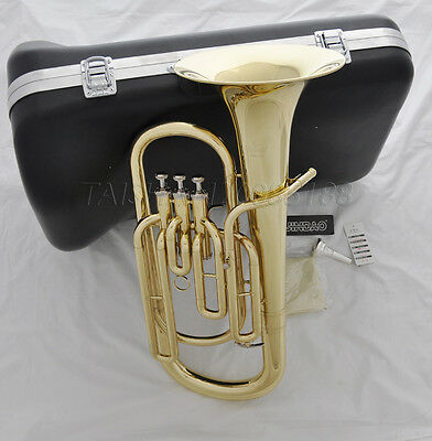 Top brand new 3 Piston Bb Gold lacquer Baritone Horn with Case Mouthpiece