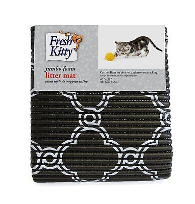 Fresh Kitty Foam Litter Trapper Mat - Black & White Quarterfoil