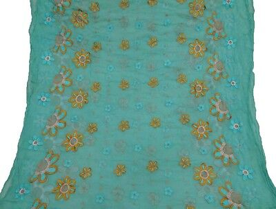 Indian Vintage Dupatta Long Scarf Embroidered Fabric Used Blue Veil Stole Hijab