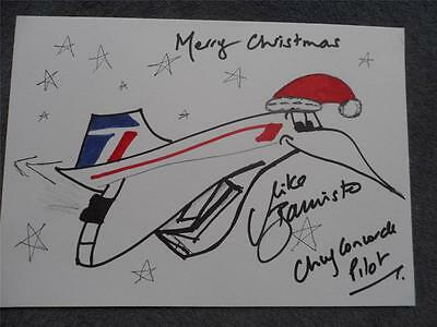 Concorde British Airways Mike Bannister Signed Hand Drawn Xmas Cartoon Copy