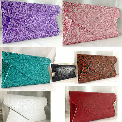 New Baby Pink Lilac White Navy Blue Red Faux Leather Evening Day Clutch Bag