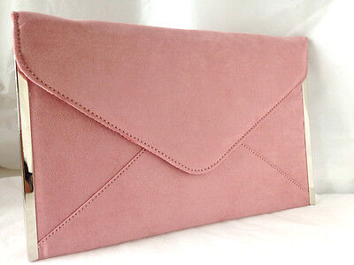 New Baby Pink Blush Faux Suede Evening Day Clutch Bag Envelope Wedding Party