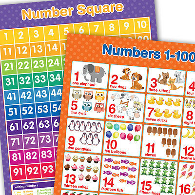 A3 Numbers 1-100 & Number Square Wall Chart