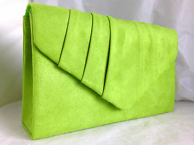 New Lime Green Faux Suede Evening Day Clutch Bag Wedding Prom Party Vintage