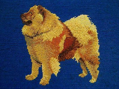Needlepoint Chow Chow Dog Framed 16X12 Completed Vintage Browns and Blue