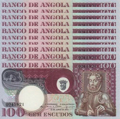 Angola Portugal 100 Escudos 1973 Unc P 106 (10 Notes)