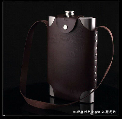 64OZ outdoor portable  flagon wine pot metal bottle hip flask + Leather cover