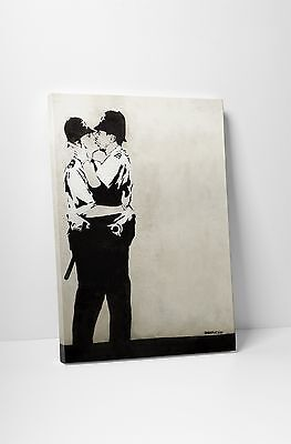 Banksy Kissing Cops Gallery Wrapped Canvas Print